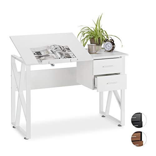 Relaxdays reclinable, Mesa Ajustable, Escritorio de Dibujo, 75x110x55 cm, Blanco, Aglomerado, Hierro, 75 x 110 x 55 cm