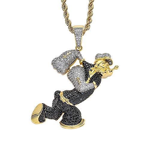 LSXX Collar Popeye Colgante Cyberpunk Colgante Hip Hop Collar de Crist