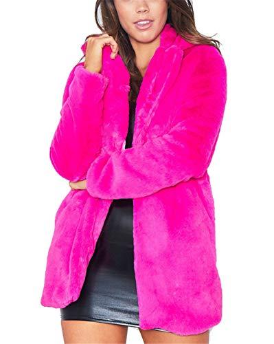Abrigo Calentar con Manga Larga para Mujer de Invierno de Piel Sintética de Pelo Chaqueta Outwear Rosa 2XL
