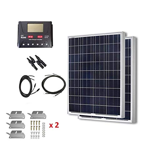 HQST 200 Watt 12 Volt Polycrystalline Solar Panel Kit with 30A PWM LCD Common Postive Solar Charge Controller, 20Ft 12AWG Solar Cable, Z-Brackets, Solar Branch Connectors, 8FT 10AWG Tray Cable