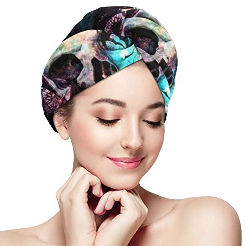 Skull Butterfly Psychedelic Print Dry Hair Cap Microfibre Hair Towel Wraps Ultra Absorbent Quick Dry Twist Turban with Button for Drying Curly Long Thick Hair 11¡± X 28¡±