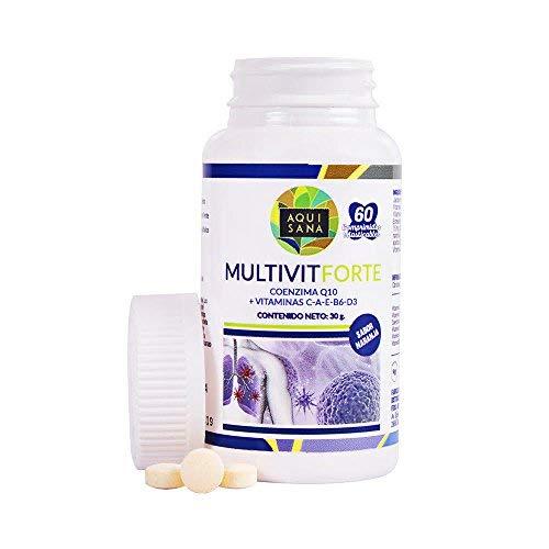 Multivitaminas masticables con vitaminas C, E, B6, A, D3 y coenzima Q10 para ayudar a nuestro cuerpo y sistema inmune – Multivitamínico de alta concentración sabor naranja – 60 comprimidos masticables