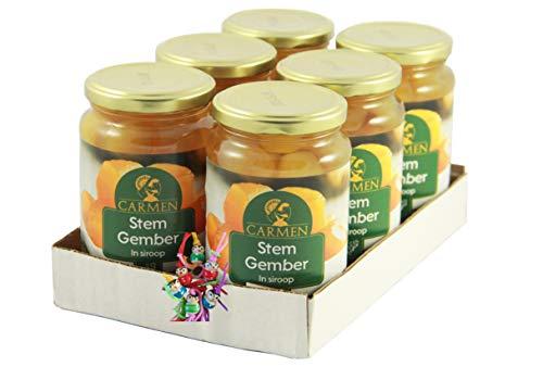 [ 6x 450g/ 240g ATG ] CARMEN Ingwer in Sirup Ginger in Syrup Gember + ein kleines Glückspüppchen - Holzpüppchen