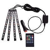 Kücheks Set luci da pavimento per Auto Caricabatterie USB Striscia Interna per Auto Lampada per atmosfera Multicolore Telecomando Suono Activated Music Light Decor (4 Strip 48 Bulb)