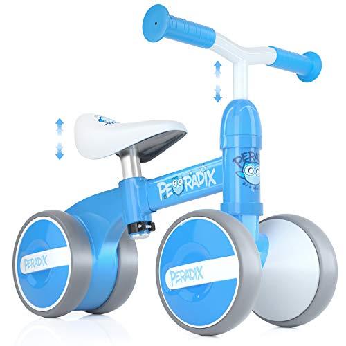 Peradix Bicicleta Sin Pedales para Niños y Niñas,Bici Sin Pedales de Manillar y Sillín Ajustables para Niño 1-3 Año Juguetes Equilibrio Triciclos Bebes