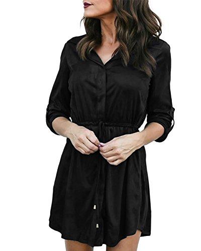Auxo Bluzka damska z długim rękawem, dekolt w kształcie litery V, oversize, tunika, luźna górna część