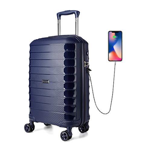 Kono Equipaje de Mano 55 cm Maleta de Viaje Cabina Rígida con 4 Ruedas y Candado TSA (Azul Marino)
