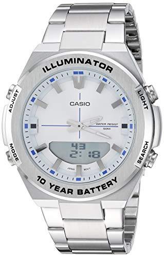 Casio Men's Illuminator Quartz Watch with Stainless-Steel Strap, Silver, 22.9 (Model: AMW-860D-7AVCF)