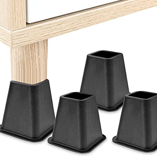 Elevador de muebles negro de 4 partes Cocoarm, expositor de muebles con patas de elefante ajustables: expositor de cama, expositor de mesa, expositor de silla o expositor de sofá Carga 500 kg