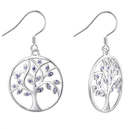 YL Tree of Life Earrings 925 Sterling Silver Amethyst Family Tree Dangle Earrings