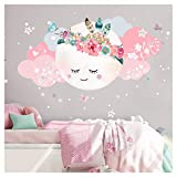 Little Deco - Adhesivo decorativo de pared para habitación de niños, niñas y bebés con diseño de luna, flores, nubes y estrellas, autoadhesivo DL267, XL - 100 x 51 cm (BxH)