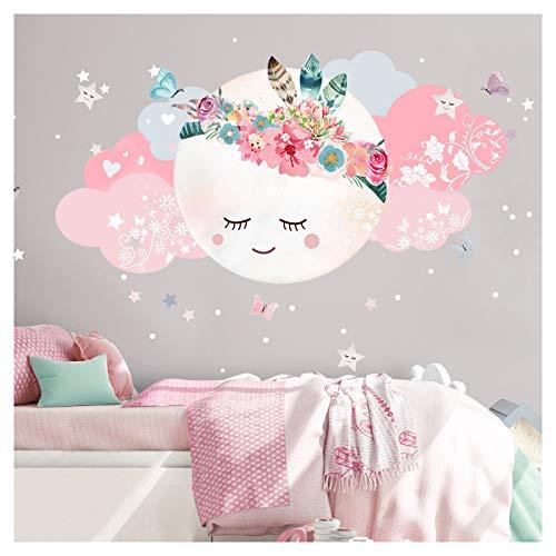 Little Deco Wandsticker Kinderzimmer Mädchen Mond & Wolken I L - 60 x 31 cm (BxH) I Wandtattoo Babyzimmer selbstklebend Wandaufkleber Sterne Blumen Kinder DL267
