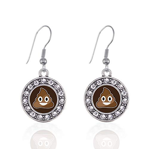 Inspired Silver - Poop Emoji Charm Earrings for Women - Silver Circle Charm French Hook Drop Earrings with Cubic Zirconia Jewelry