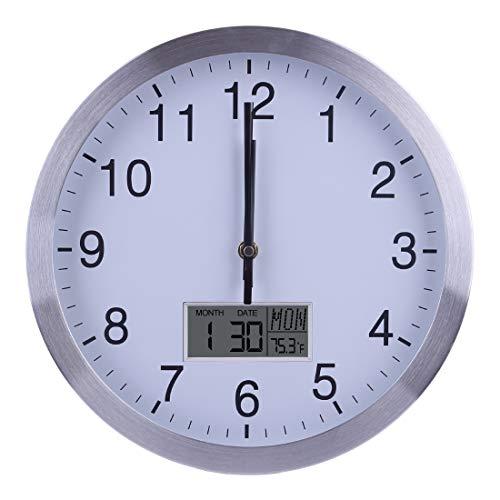 Yavso 30cm Reloj de Pared Radiocontrolado Silencioso Reloj Pared Metal con Termómetro y Calendario Reloj de Pared Plateado