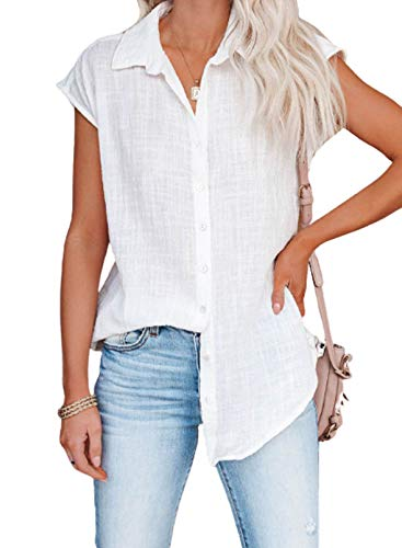 Dokotoo Sexy Womens Tops and Blouses Summer Short Sleeve Casual V Neck Solid Color Womens Blouses & Button-Down Shirts Business Fashion Chiffon Shirts and Tops White X-Large