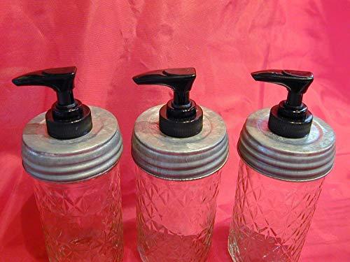 (3) Lined Regular/Standard Size Galvanized Lid with Black Pump (Triple Pack) - Mason Jar Lotion/Soap dispenser Converter - Lid & Pump