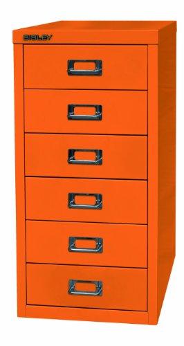 BISLEY Schubladenschrank aus Metall mit 6 Schüben | Schrank für Büro, Werkstatt und Zuhause | Stahlschrank in 11 Farben (Orange)