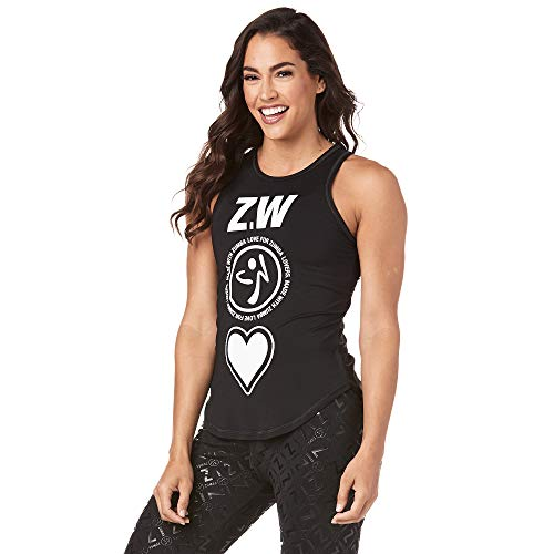 Zumba Workout High Neck Tank Top Activewear Graphic Dance Fitness Tops for Women, Back to Black 1, XS