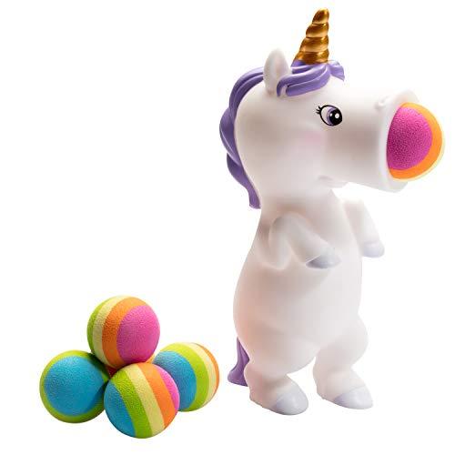 Hog Wild White Unicorn Popper Toy - Shoot Foam Balls Up to 20 Feet - 6 Rainbow Balls Included - Age 4+