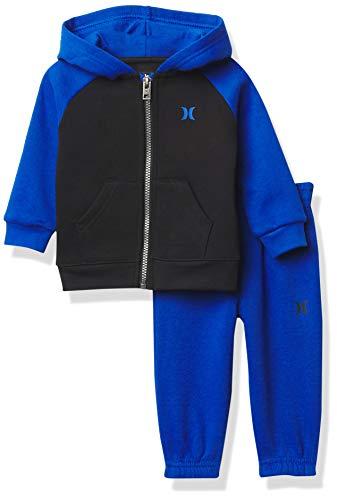 Hurley Conjunto de 2 piezas con capucha y corredores para bebé, Cobalto/Negro, 4 Años