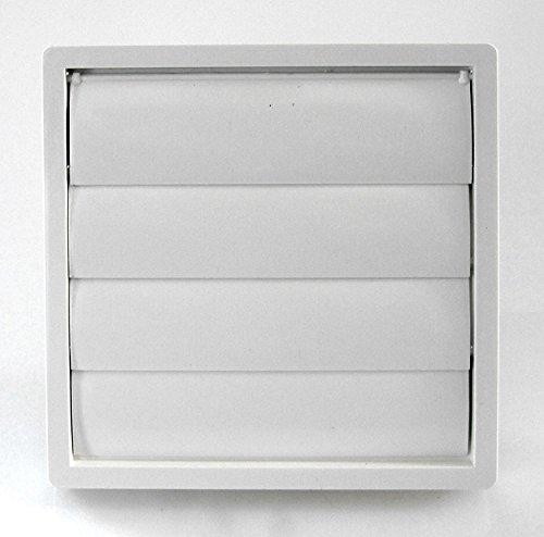 calimaero VK Rückstauklappe 150mm Lüftungsgitter mit beweglichen Lamellen Außenwand Montage Abluft Rückschlagklappe schließt selbsttätig/witterungsbeständig (UV Stabil) / weiß RAL 9010