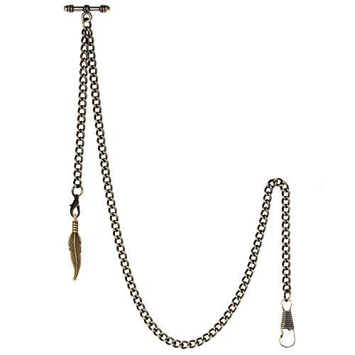 TREEWETO Taschenuhrkette mit T Bar Endstück Albert T-Bar Taschenuhr Kette mit Antiker Blatt-Anhänger und 2 Haken für Weste Knopfloch Bronze