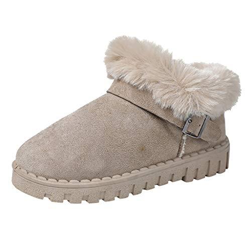 Best Buy! ANJUNIE Women's Snow Shoe Ladies Leisure Slip-On Bootie Round Toe Buckle Flat Heels Cotton...