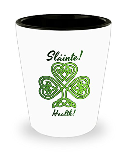 Irish Shot Glass: Shamrock Celtic Knot Sláinte!