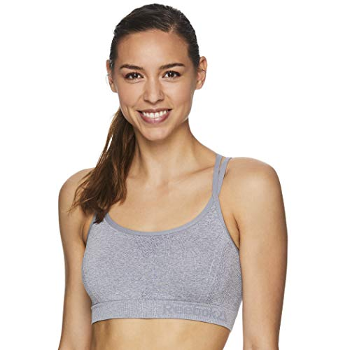 Reebok Women's Strappy Longline Sports Bra - Racerback Medium Impact Bralette w/Removable Cups - Grey Heather Cosmos 2.0, Small
