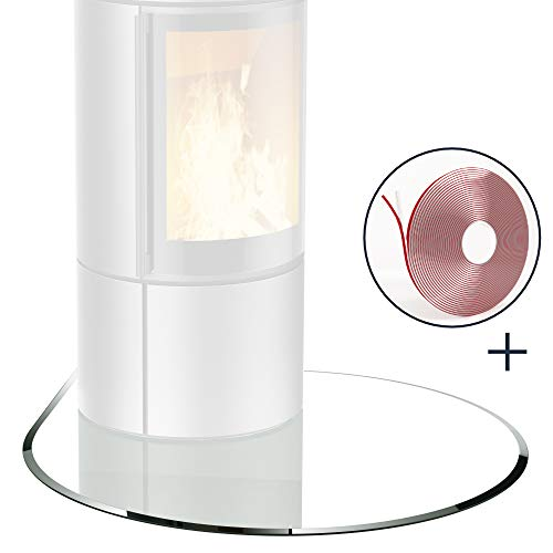 bijon® Glasplatte für Kaminofen Tropfenbogen mit Dichtlippe Glasbodenplatte - Funkenschutzplatte Glas | Kamin Hitzeschutz | 100 x 100 cm – 8 mm ESG Kamin-Bodenplatte