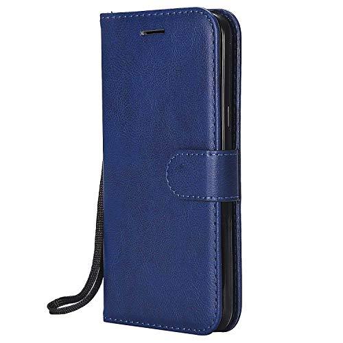DENDICO Cover Galaxy J3 2016, Premium Portafoglio PU Custodia in Pelle, Flip Libro TPU Bumper Caso per Samsung Galaxy J3 2016 - Blu Navy