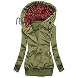 Mymyguoe Giacca a vento da donna, maglione, con cappuccio, casual, a maniche lunghe, con chiusura lampo, A-Verde, XXL