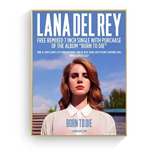 Lana Del Rey Porträt Pop Art Poster Und Druck Leinwand Kunst Malerei Wandbilder Für Wohnzimmer Dekoration Wohnkultur Kein Rahmen-50x70 cm x 1 stücke-Kein Rahmen