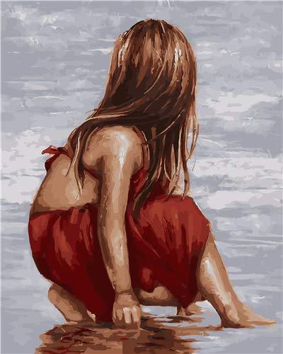 Vacio DIY Pintura por Números para Pintar por Numeros Kits Chica en la Playa Adultos Niños Principiantes Pintura Decoraciones para el Hogar 40*50 cm Sin Marco