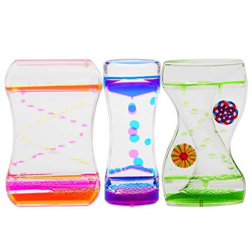 Coitak Liquid Motion Bubbler Timer for Sensory Play, Fidget Toy, Desk Top, 3 Pack, Assorted Colors