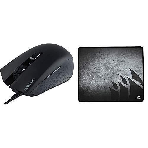 Corsair Harpoon RGB Optical Gaming Mouse - Black & CH-9000106-WW Gaming MM300 Medium Anti-Fray Cloth Gaming Mouse Mat