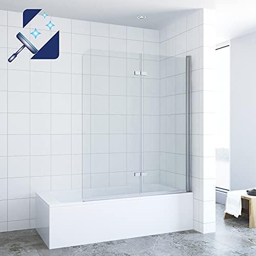 AQUABATOS® 120 x 140 cm Duschwand für Badewanne Duschabtrennung Badewanne faltbar Duschtrennwand Badewannenfaltwand Badewannenaufsatz aus 5 mm Einscheiben Sicherheitsglas Echtglas Nano Beschichtung