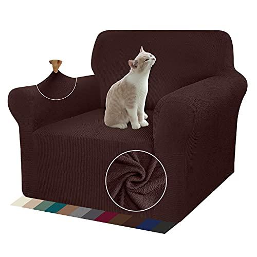 Granbest - Funda de sofá extensible con diseño de rayas y funda de sillón duradera, 1 pieza para sofá universal (1 plaza, color marrón