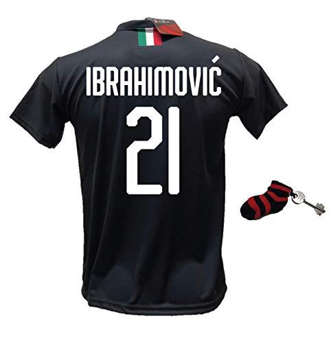 DND de Andolfo Ciro Terza Camiseta Zlatan Ibrahimovic 21 Milan negro Away Fútbol réplica autorizada 2019-2020 tallas de niño y adulto con regalo calcetín llavero rosetón