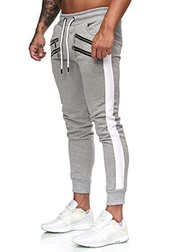 OneRedox Herren Jogging Hose Jogger Streetwear Sporthose Modell 3131 Grau S
