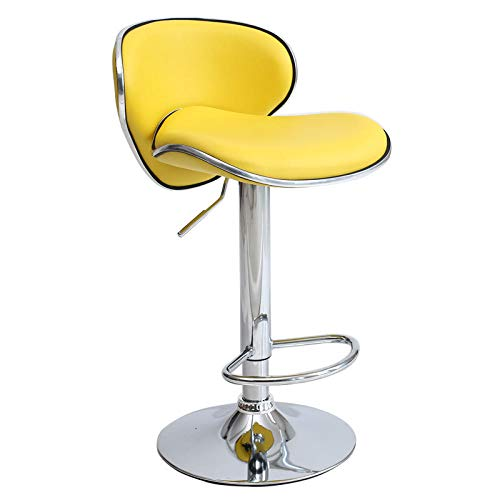 Round Rolling Stool Swivel Work SPA Medical Salon Chair with Wheels,Rotating bar stool,kitchen breakfast chair with adjustable height backrest,artificial leather/chrome steel footstool Cafe,yellow