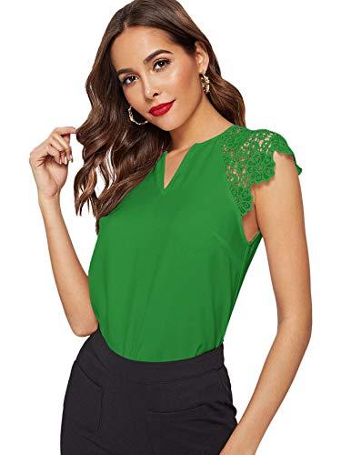 WDIRARA Blusa de manga corta con cuello en V para mujer, Verde-1, XS