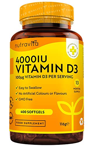 Vitamin D 4000 IU - 400 Easy to Swallow Softgels - Over A Year's Supply - Vitamin D3 Cholecalciferol - Manufactured in The UK by Nutravita