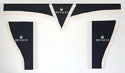 Juego de 3 cortinas negras con cuerdas blancas, tamaño universal, todos los modelos, accesorios de decoración de tela de felpa