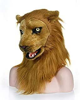 LULI Moving Mouth Simulated Fur Grownup Costume Cosplay Halloween Mask Creepy Party Props Mouth Activity Horror Breathable Hairy Mask(Lion) (Color : Brown, Size : 2525)