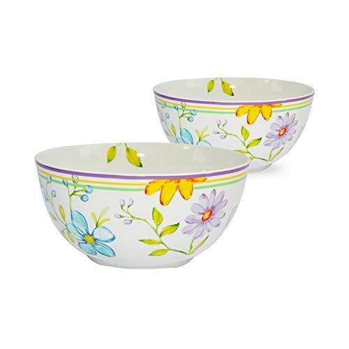 Euro Ceramica Charlotte Collection Stoneware Dinnerware and Serveware 9' Fruit/Vegetable/Salad Serving Bowl, Set of 2, Watercolor Floral/Garden Design, Multicolor