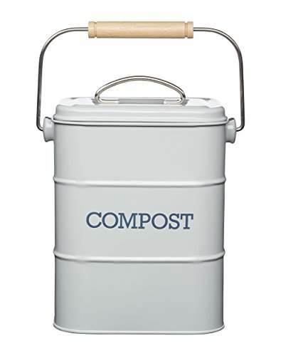 Cheapest Price! Kitchen Craft Living Nostalgia Steel Compost Bin, 3 litres-French, Pale Grey