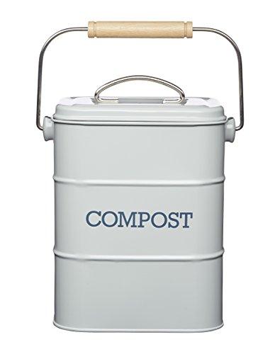 Kitchen Craft LNCOMPGRY Poubelle à Compost en Acier Inoxydable Living Nostalgia, 3 litres, Aspect Antique, Gris