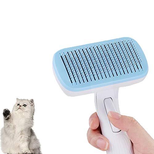 Automatischer Tierhaarentfernungskamm Ein-Knopf-Haarentfernung Nadelkamm für Haustier Hunde Haustier Haarentfernung Bürste (weiß)