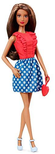 Barbie – CLN68 – Fashionistas – Corsage à Volants Rouge et Jupe Bleu à Fleurs Blanche – Poupée Mannequin 29 cm